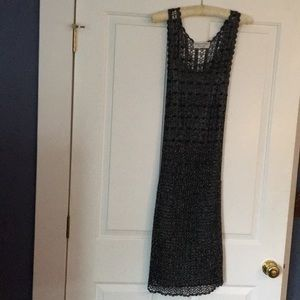 Crocheted black and silver beaded evening dress.